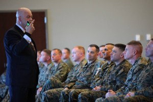 Teaching 150 senior leaders of 2nd Marine Aircraft Wing at US Marine Corps Air Station Cherry Point.  (USMC photo by Pfc. Nicholas P. Baird)