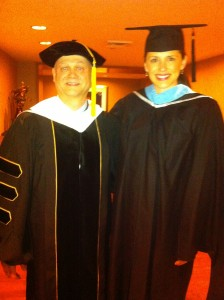 Fred with his former NYU student, current NYU colleague, and Logos Senior Advisor Laurel Hart at a recent NYU graduation