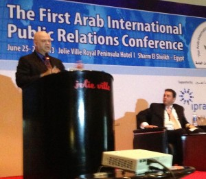 Teaching at the First All Arab Public Relations Conference in Egypt, 2013