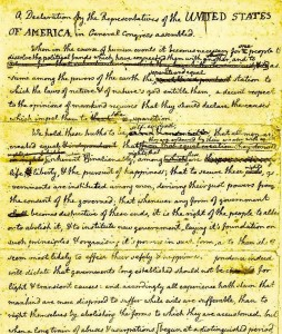 Draft of the Declaration, with Franklin's and others' edits